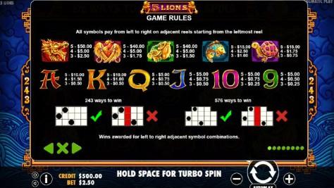 5 lions UK slot game