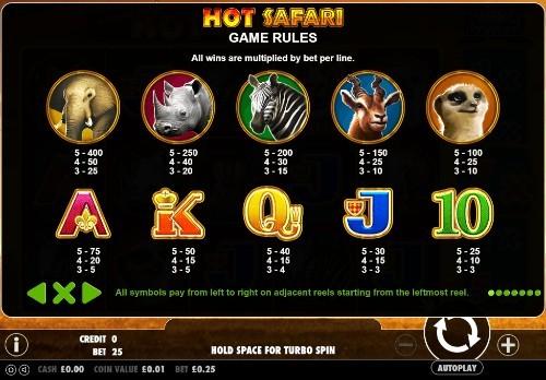 Hot Safari UK slot game