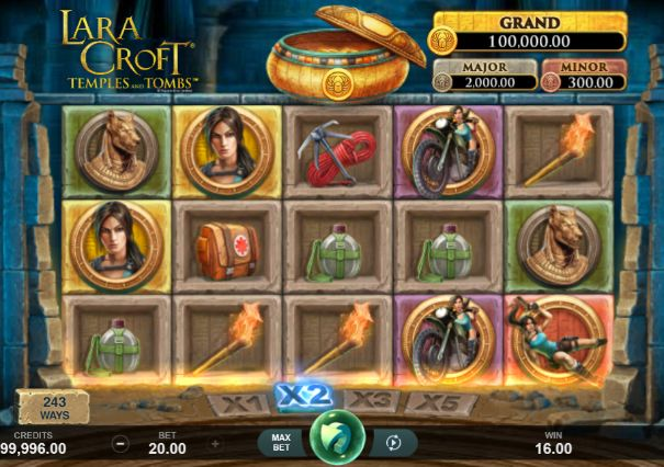 Lara Croft Temples and Tombs UK slot game