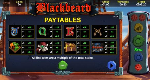 Blackbeard UK slot game