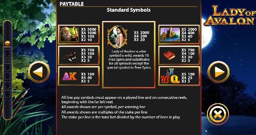 Lady of Avalon UK slot game