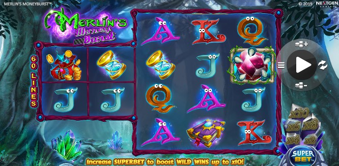 Merlin's Money burst UK slot game